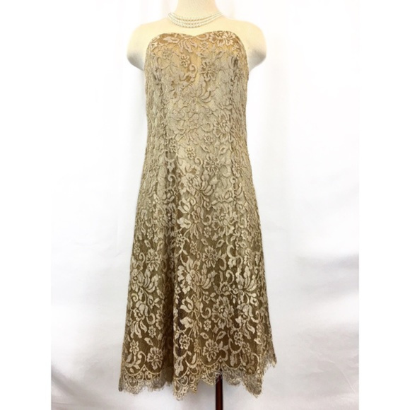 Ann Taylor Dresses & Skirts - Ann Taylor Gold Lace Sweetheart Neckline Dress 6